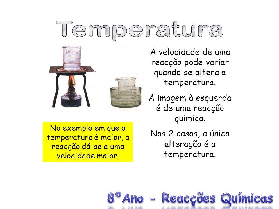 A velocidade de uma reacção pode variar quando se altera a temperatura. A imagem à esquerda é de uma reacção química. Nos 2 casos, a única alteração é