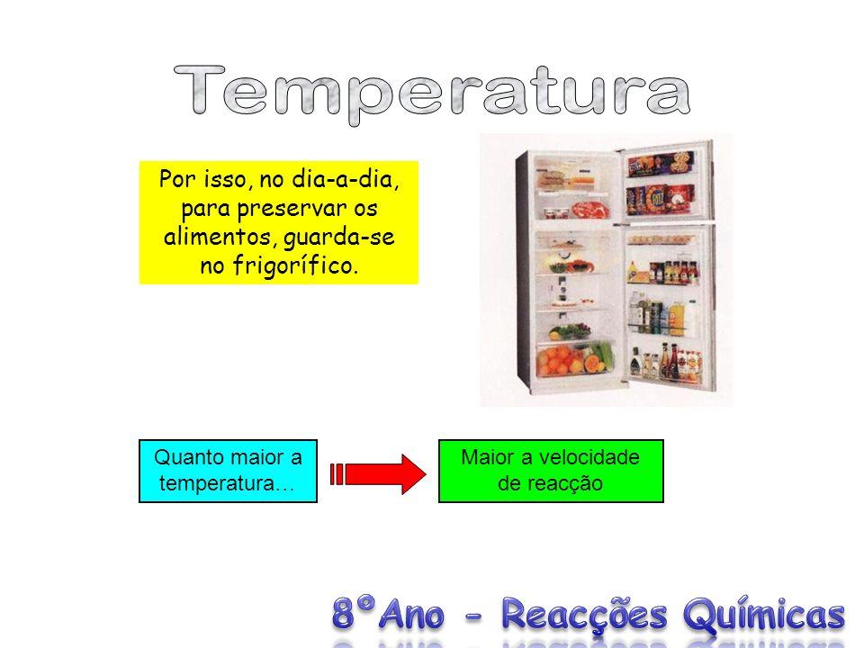 Por isso, no dia-a-dia, para preservar os alimentos, guarda-se no frigorífico. Quanto maior a temperatura… Maior a velocidade de reacção