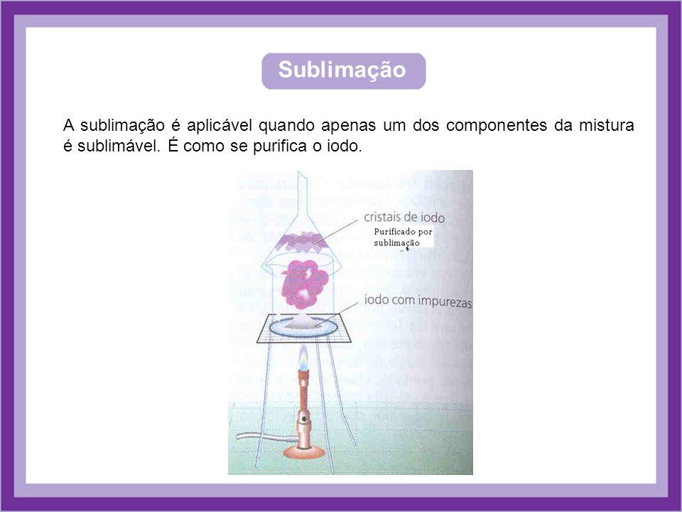 Sublimação A sublimação é aplicável quando apenas um dos componentes da mistura é sublimável. É como se purifica o iodo.