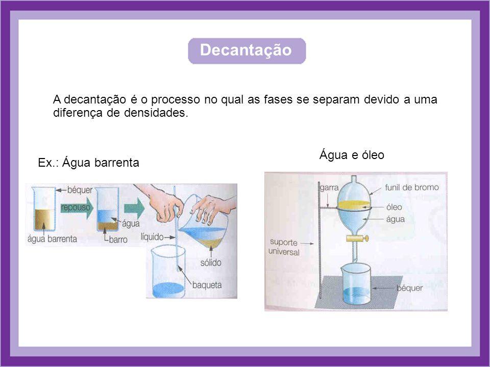 Decantação A decantação é o processo no qual as fases se separam devido a uma diferença de densidades. Ex.: Água barrenta Água e óleo