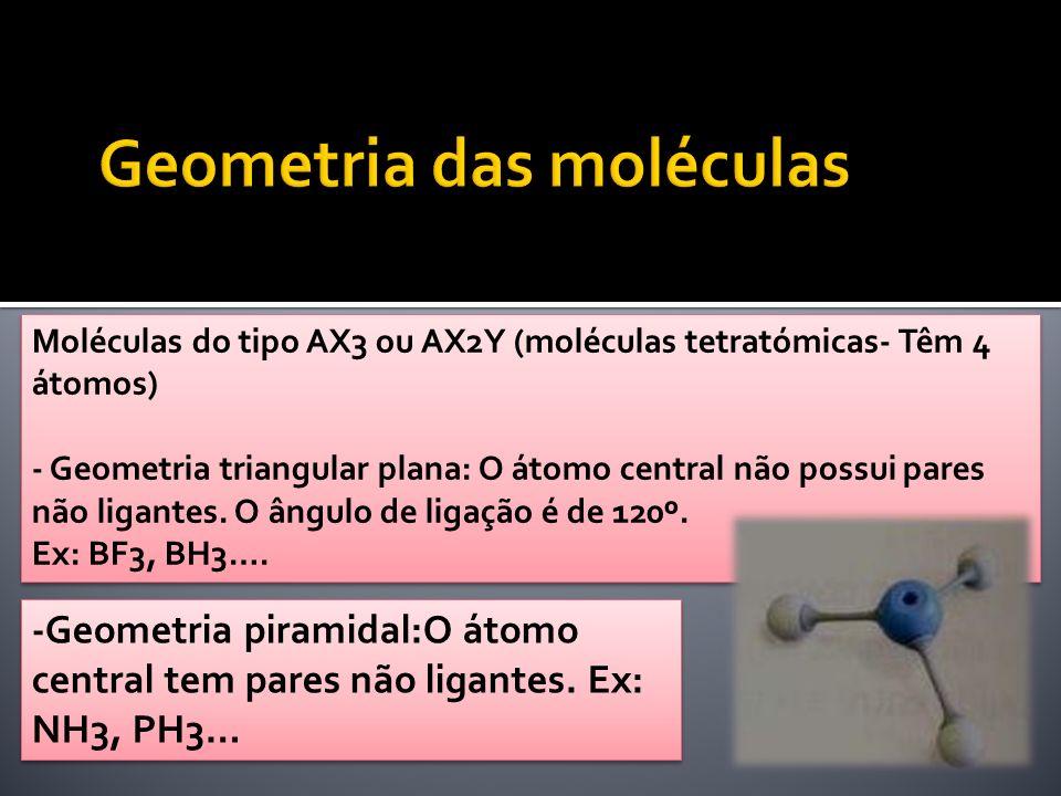 Moléculas do tipo AX3 ou AX2Y (moléculas tetratómicas- Têm 4 átomos) - Geometria triangular plana: O átomo central não possui pares não ligantes. O ân
