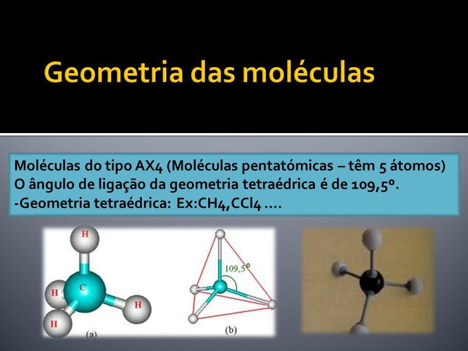 Moléculas do tipo AX4 (Moléculas pentatómicas – têm 5 átomos) O ângulo de ligação da geometria tetraédrica é de 109,5º. -Geometria tetraédrica: Ex:CH4