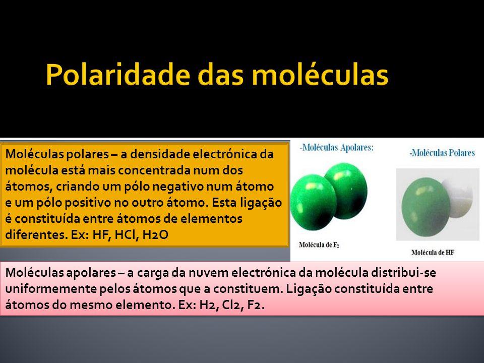 Moléculas polares – a densidade electrónica da molécula está mais concentrada num dos átomos, criando um pólo negativo num átomo e um pólo positivo no