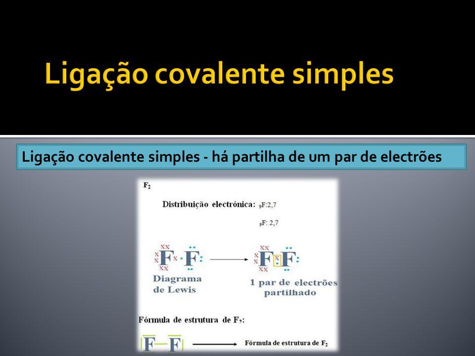 Ligação covalente simples - há partilha de um par de electrões
