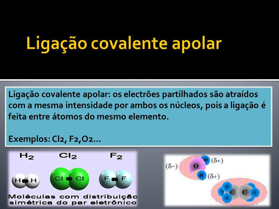 Ligação covalente apolar: os electrões partilhados são atraídos com a mesma intensidade por ambos os núcleos, pois a ligação é feita entre átomos do m