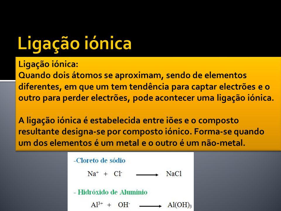 Ligação iónica: Quando dois átomos se aproximam, sendo de elementos diferentes, em que um tem tendência para captar electrões e o outro para perder el