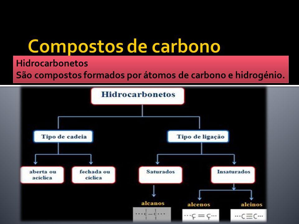 Hidrocarbonetos São compostos formados por átomos de carbono e hidrogénio.