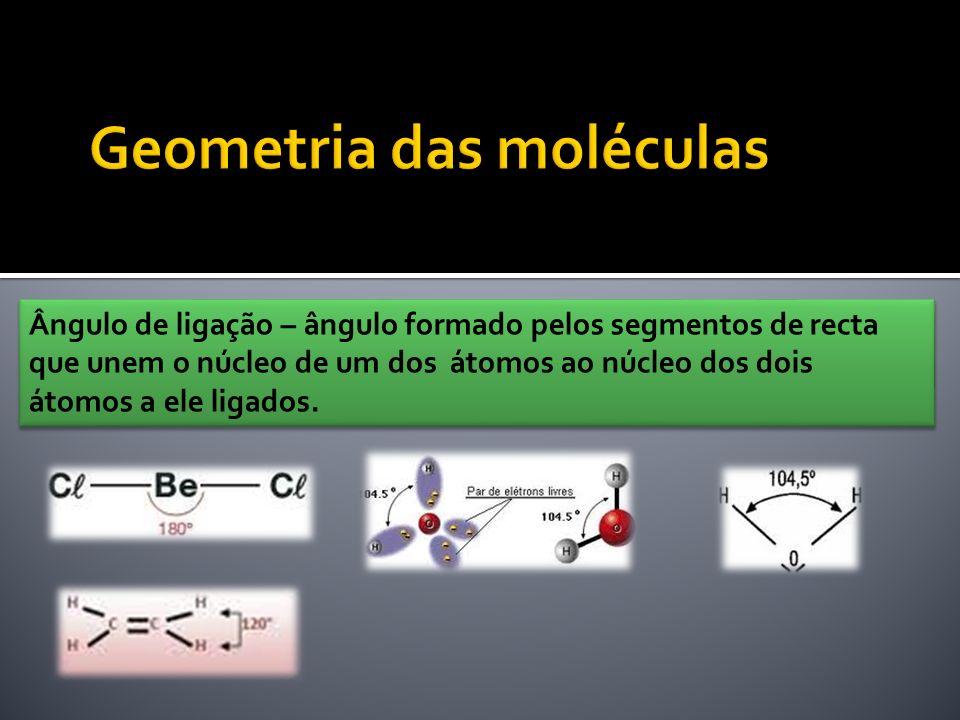 Ângulo de ligação – ângulo formado pelos segmentos de recta que unem o núcleo de um dos átomos ao núcleo dos dois átomos a ele ligados.