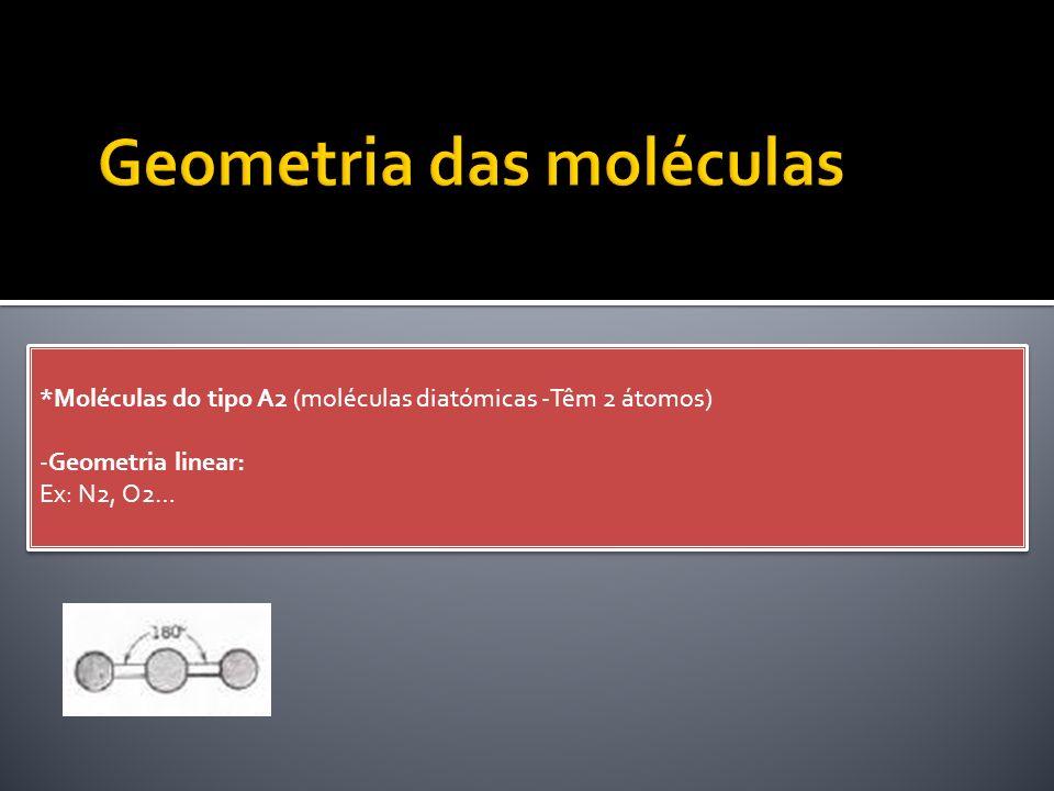 *Moléculas do tipo A2 (moléculas diatómicas -Têm 2 átomos) -Geometria linear: Ex: N2, O2…