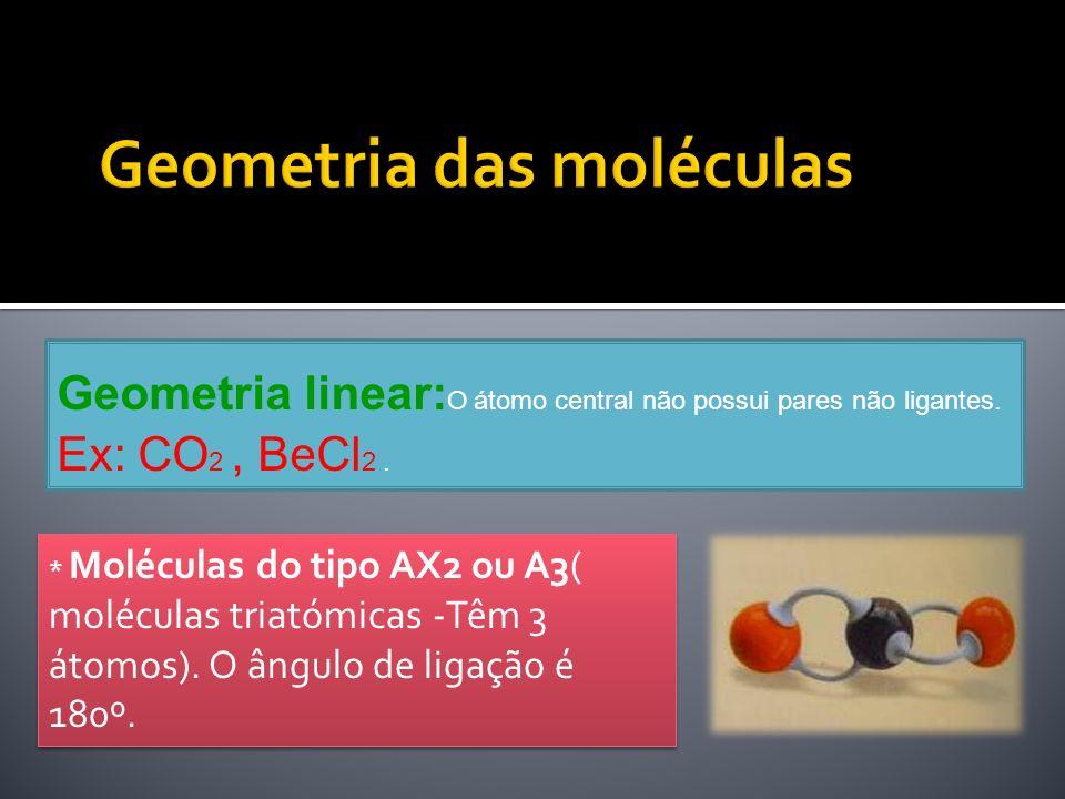 Geometria linear: O átomo central não possui pares não ligantes. Ex: CO 2, BeCl 2. * Moléculas do tipo AX2 ou A3( moléculas triatómicas -Têm 3 átomos)