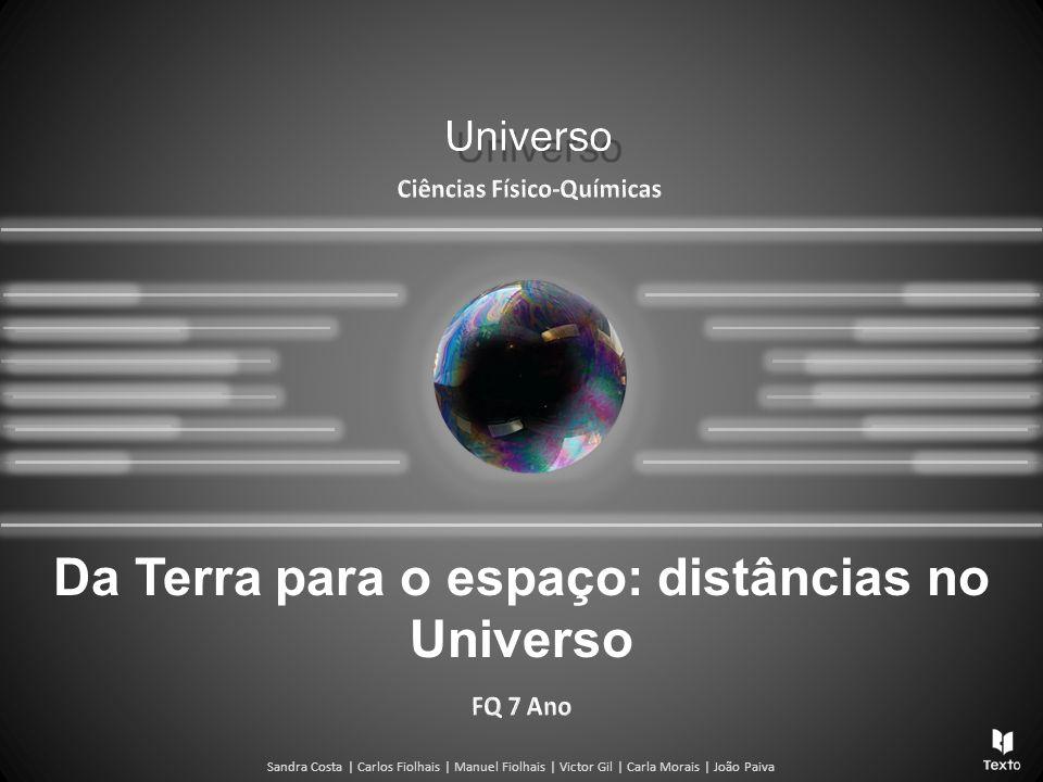 Universo Distâncias no Universo Os valores das distâncias podem ser muito diferentes quando comparamos distâncias na Terra e no resto do Universo.