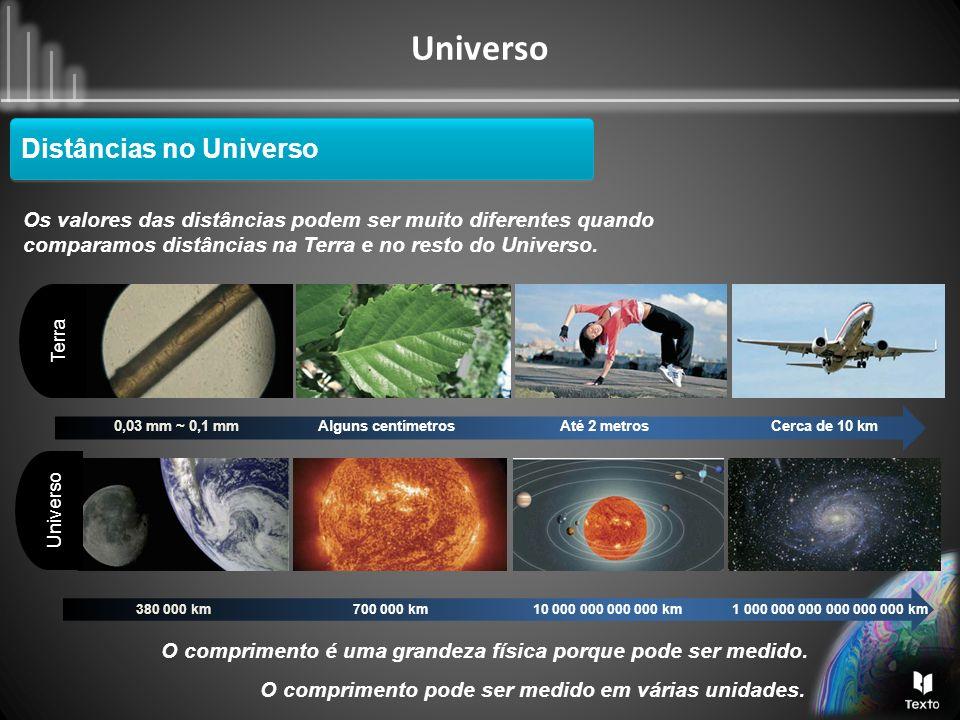 Universo Distâncias no Universo As distâncias no Universo, em quilómetros (km), são muito grandes e, por isso existe uma forma de escrever esses valores de uma maneira mais simples.