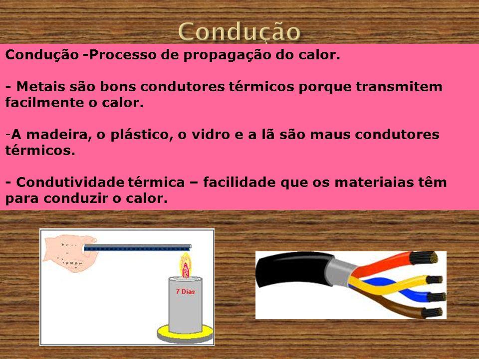 Condução -Processo de propagação do calor. - Metais são bons condutores térmicos porque transmitem facilmente o calor. -A madeira, o plástico, o vidro
