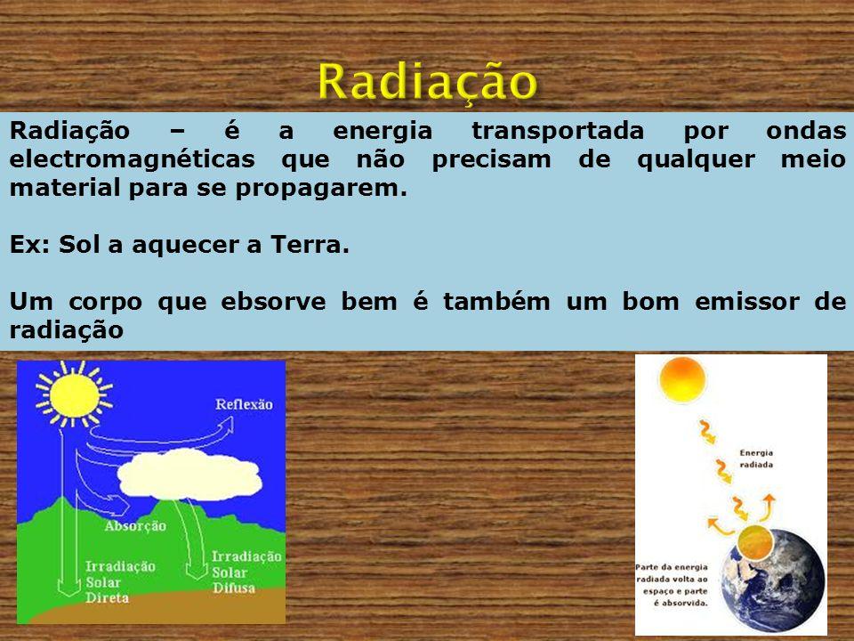 Radiação – é a energia transportada por ondas electromagnéticas que não precisam de qualquer meio material para se propagarem. Ex: Sol a aquecer a Ter