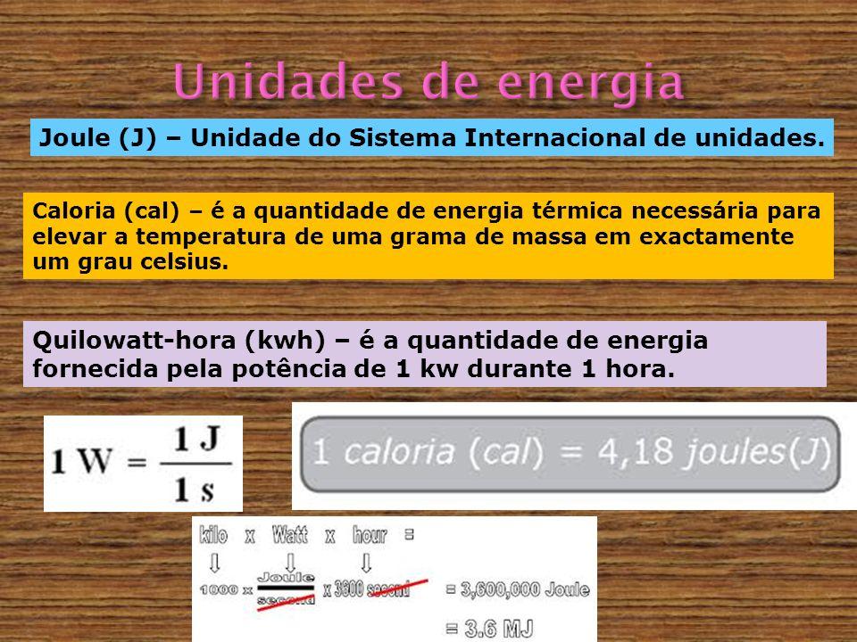 Joule (J) – Unidade do Sistema Internacional de unidades. Caloria (cal) – é a quantidade de energia térmica necessária para elevar a temperatura de um
