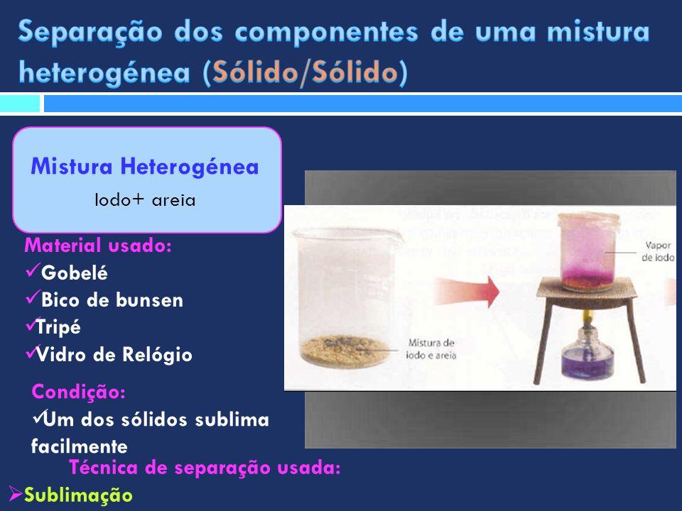 Mistura Heterogénea Iodo+ areia Técnica de separação usada: Sublimação Material usado: Gobelé Bico de bunsen Tripé Vidro de Relógio Condição: Um dos s
