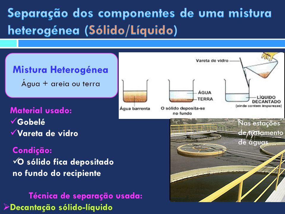 Mistura Heterogénea Água + areia ou terra Técnica de separação usada: Decantação sólido-líquido Material usado: Gobelé Vareta de vidro Condição: O sól