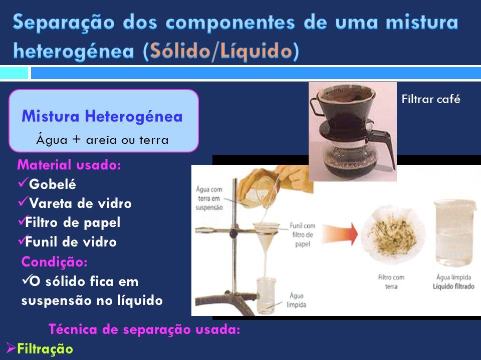 Mistura Heterogénea Água + areia ou terra Técnica de separação usada: Filtração Material usado: Gobelé Vareta de vidro Filtro de papel Funil de vidro