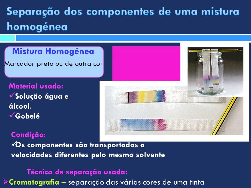 Mistura Homogénea Marcador preto ou de outra cor Técnica de separação usada: Cromatografia – separação das várias cores de uma tinta Material usado: S