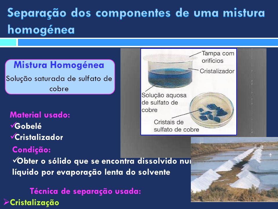Mistura Homogénea Solução saturada de sulfato de cobre Técnica de separação usada: Cristalização Material usado: Gobelé Cristalizador Condição: Obter