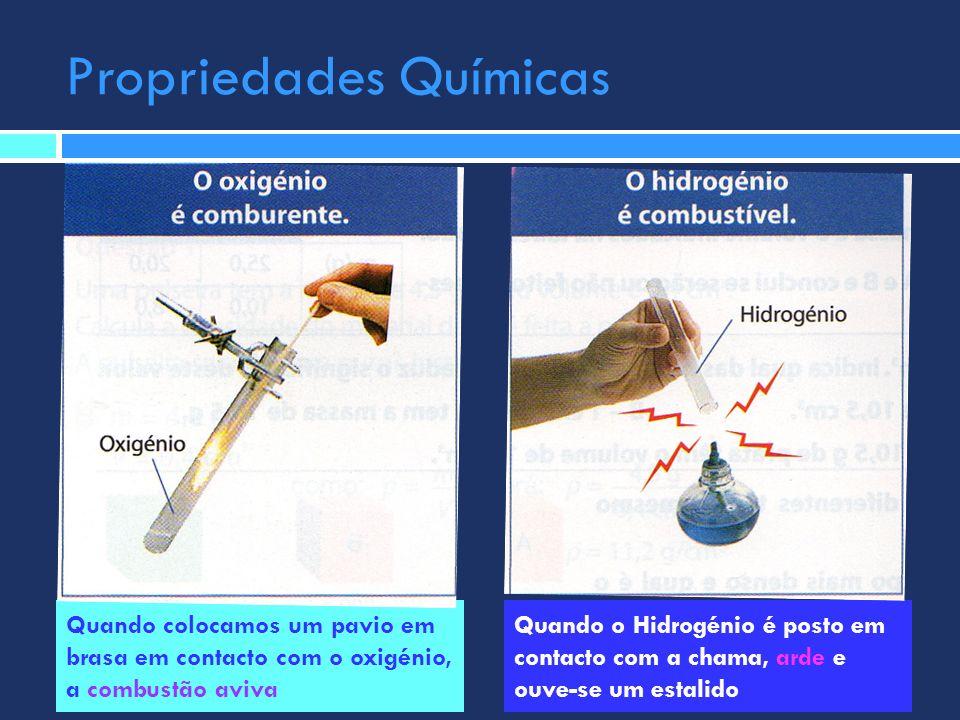 Propriedades Químicas Quando colocamos um pavio em brasa em contacto com o oxigénio, a combustão aviva Quando o Hidrogénio é posto em contacto com a c