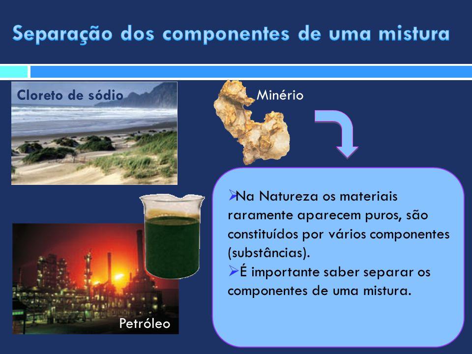 Na Natureza os materiais raramente aparecem puros, são constituídos por vários componentes (substâncias). É importante saber separar os componentes de