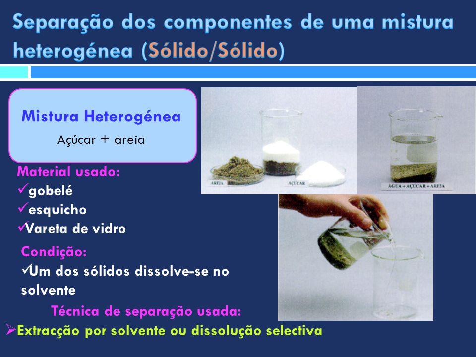 Mistura Heterogénea Açúcar + areia Técnica de separação usada: Extracção por solvente ou dissolução selectiva Material usado: gobelé esquicho Vareta d