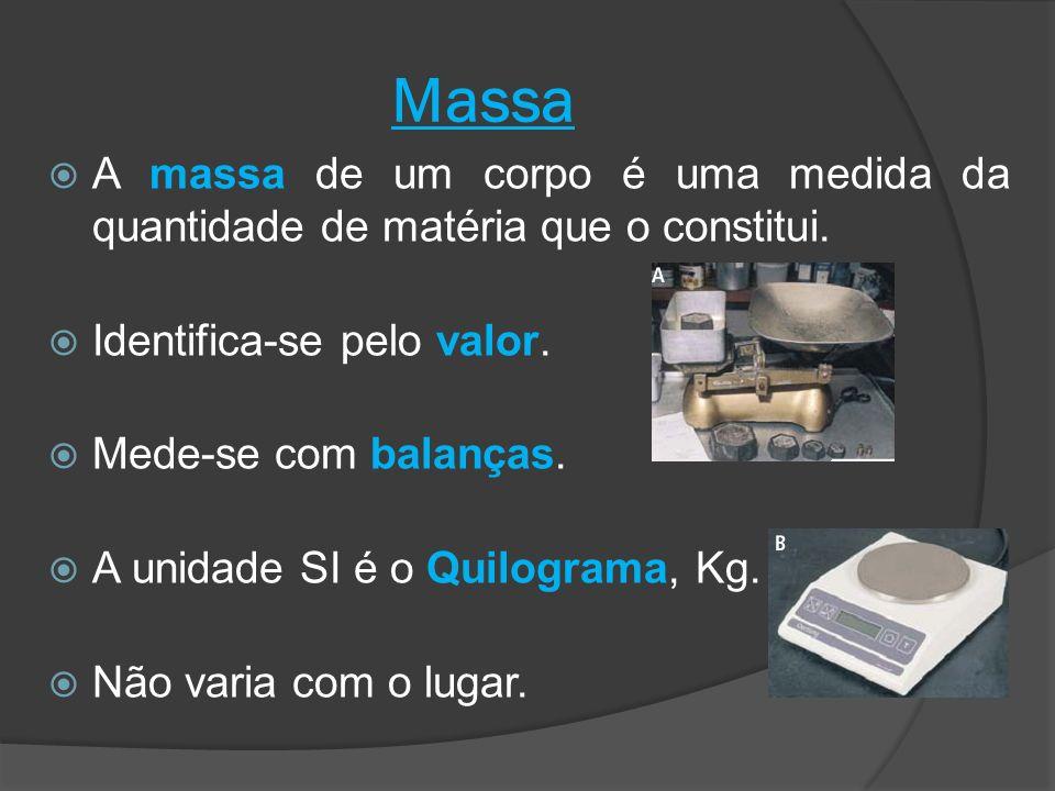 Massa A massa de um corpo é uma medida da quantidade de matéria que o constitui. Identifica-se pelo valor. Mede-se com balanças. A unidade SI é o Quil