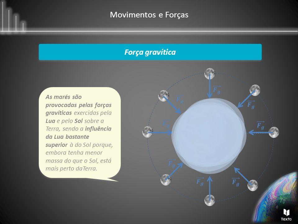 Movimentos e Forças Força gravítica As marés são provocadas pelas forças gravíticas exercidas pela Lua e pelo Sol sobre a Terra, sendo a influência da