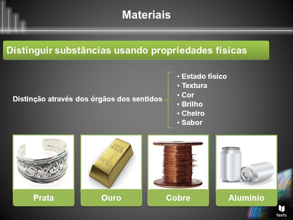 Materiais Solubilidade Por vezes é necessário recorrer a outras propriedades, como por exemplo a solubilidade em água ou noutro solvente.