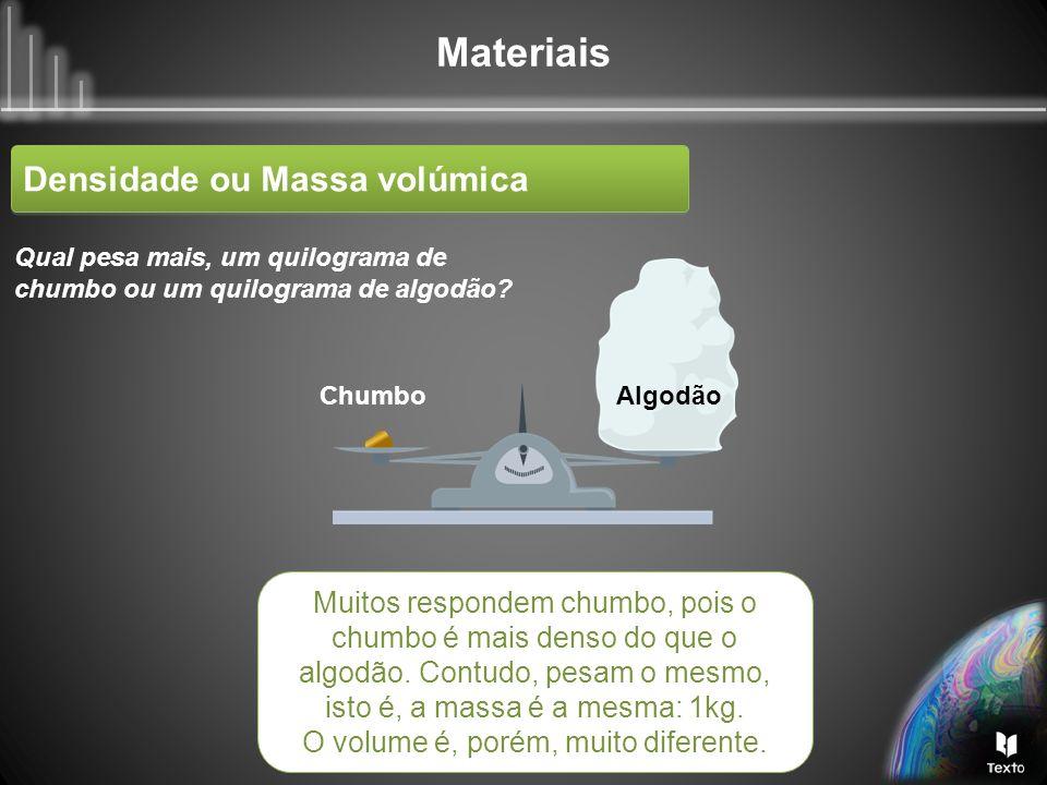 Materiais Densidade ou Massa volúmica Anel de latão (1 cm 3 ) Anel de ouro (1 cm 3 ) O ouro é mais denso do que o latão.