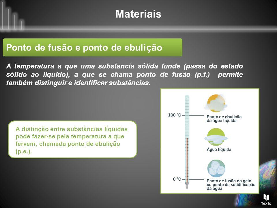 Materiais Ponto de fusão e ponto de ebulição Durante a fusão e a ebulição de uma substância pura a temperatura mantém-se constante (patamar do gráfico).