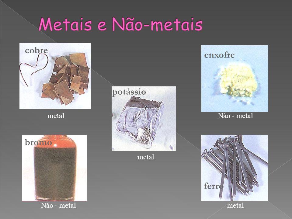 cobre enxofre potássio bromo ferro metal Não - metal