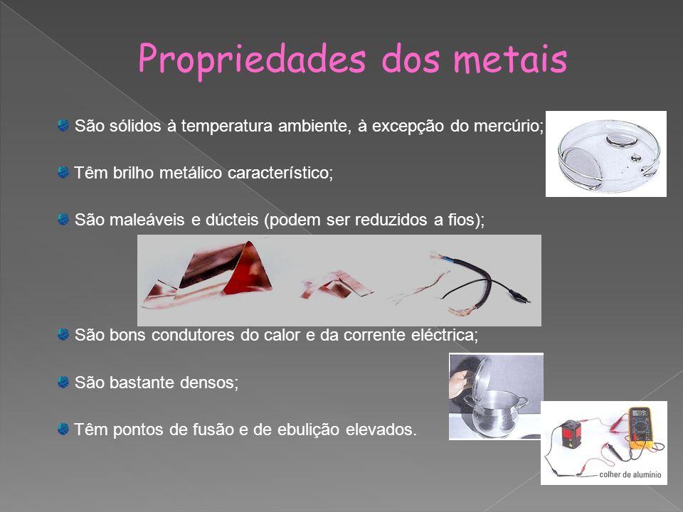 Propriedades dos metais São sólidos à temperatura ambiente, à excepção do mercúrio; Têm brilho metálico característico; São maleáveis e dúcteis (podem