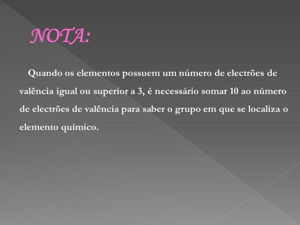 NOTA: Quando os elementos possuem um número de electrões de valência igual ou superior a 3, é necessário somar 10 ao número de electrões de valência p