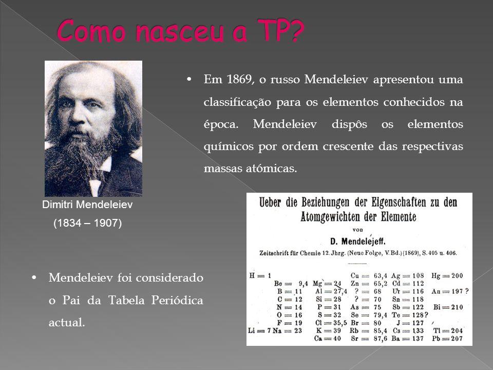 Em 1869, o russo Mendeleiev apresentou uma classificação para os elementos conhecidos na época. Mendeleiev dispôs os elementos químicos por ordem cres