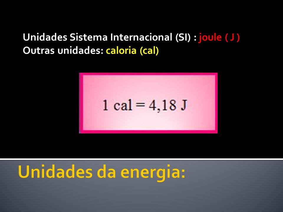 Unidades Sistema Internacional (SI) : joule ( J ) Outras unidades: caloria (cal)