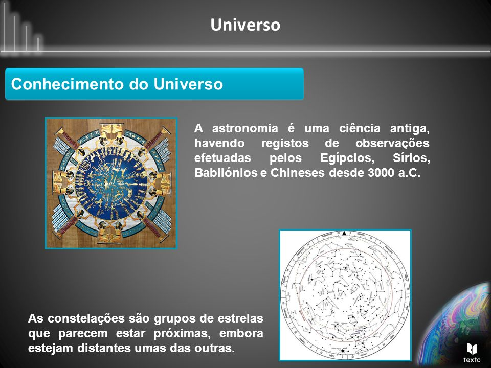 Universo Conhecimento do Universo A astronomia é uma ciência antiga, havendo registos de observações efetuadas pelos Egípcios, Sírios, Babilónios e Ch