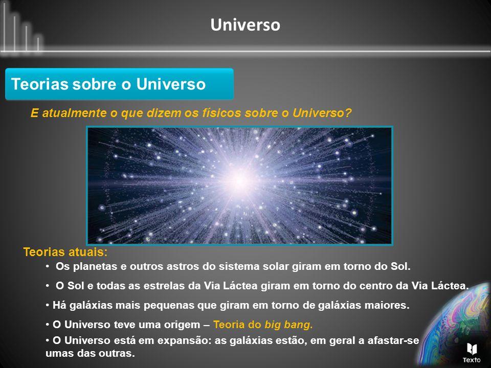 Universo E atualmente o que dizem os físicos sobre o Universo? Teorias atuais: Os planetas e outros astros do sistema solar giram em torno do Sol. O S