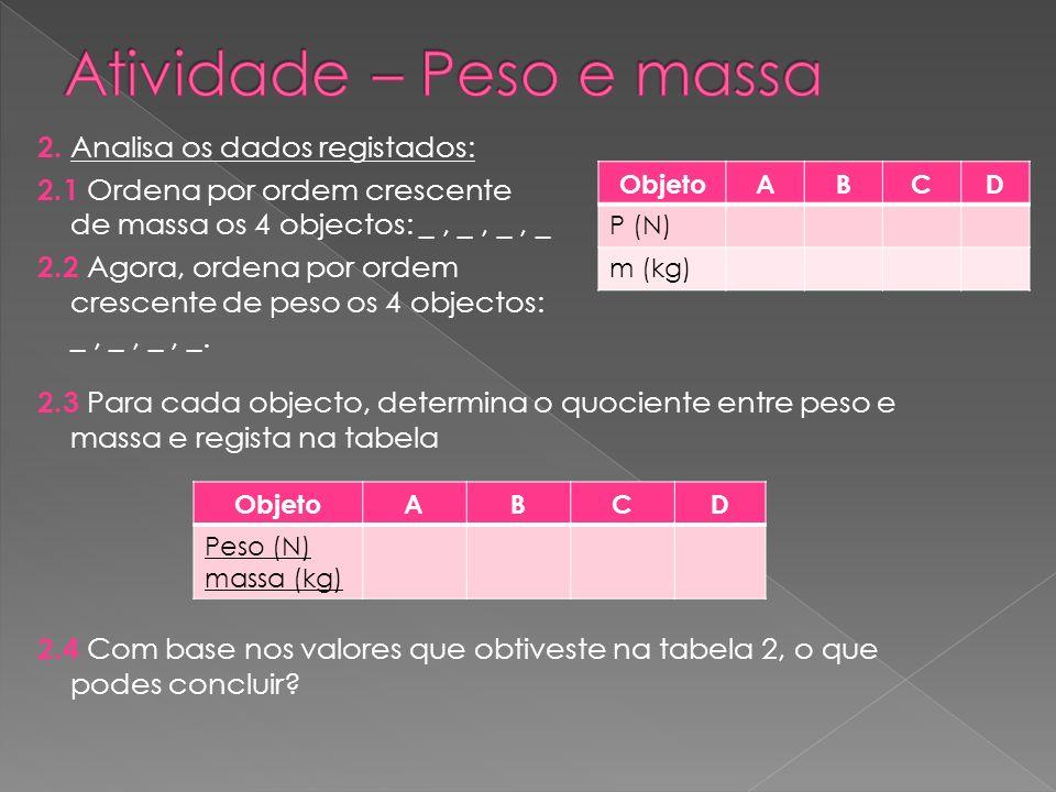 2. Analisa os dados registados: 2.1 Ordena por ordem crescente de massa os 4 objectos: _, _, _, _ 2.2 Agora, ordena por ordem crescente de peso os 4 o