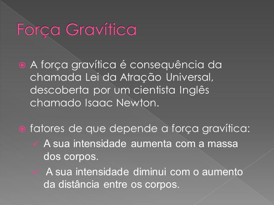 A força gravítica é consequência da chamada Lei da Atração Universal, descoberta por um cientista Inglês chamado Isaac Newton. fatores de que depende