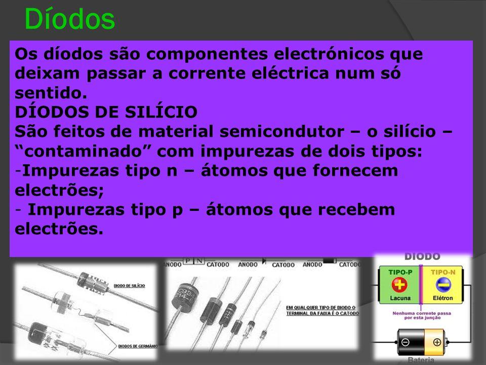Díodos Constituídos basicamente por dois semicondutores de silício, unidos por uma junção pn.