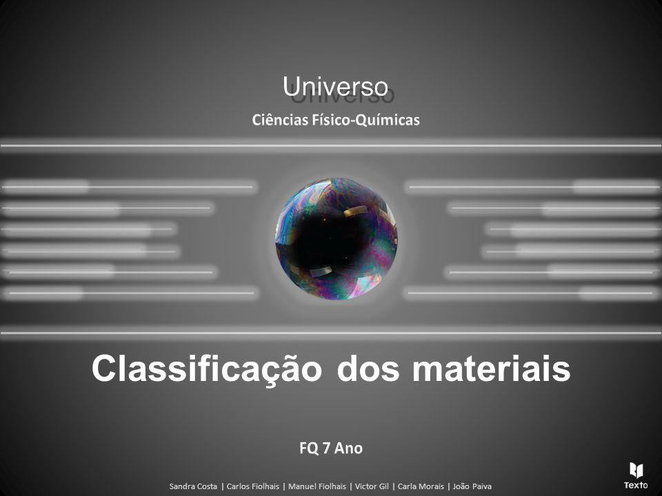 Sandra Costa | Carlos Fiolhais | Manuel Fiolhais | Victor Gil | Carla Morais | João Paiva Classificação dos materiais