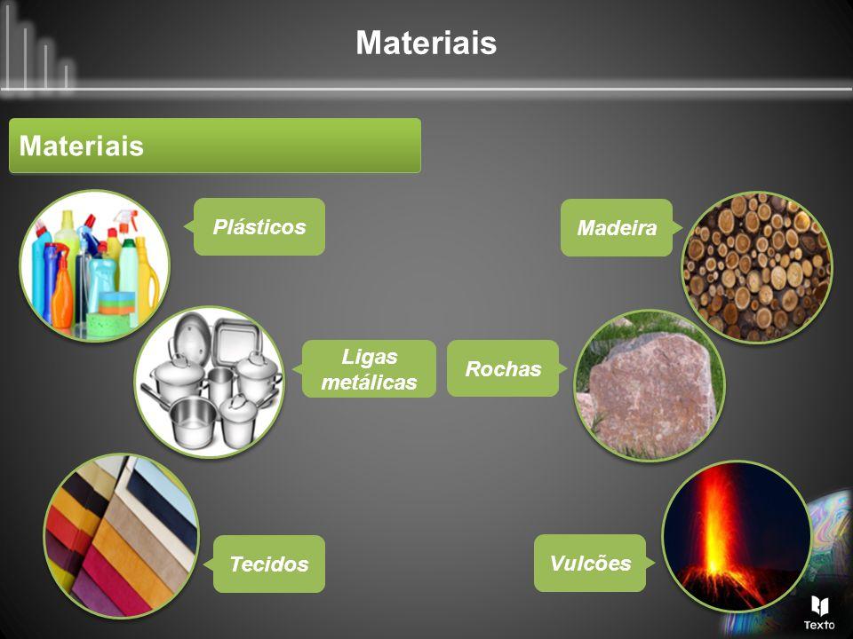 Materiais Plásticos Madeira Rochas Ligas metálicas Tecidos Vulcões