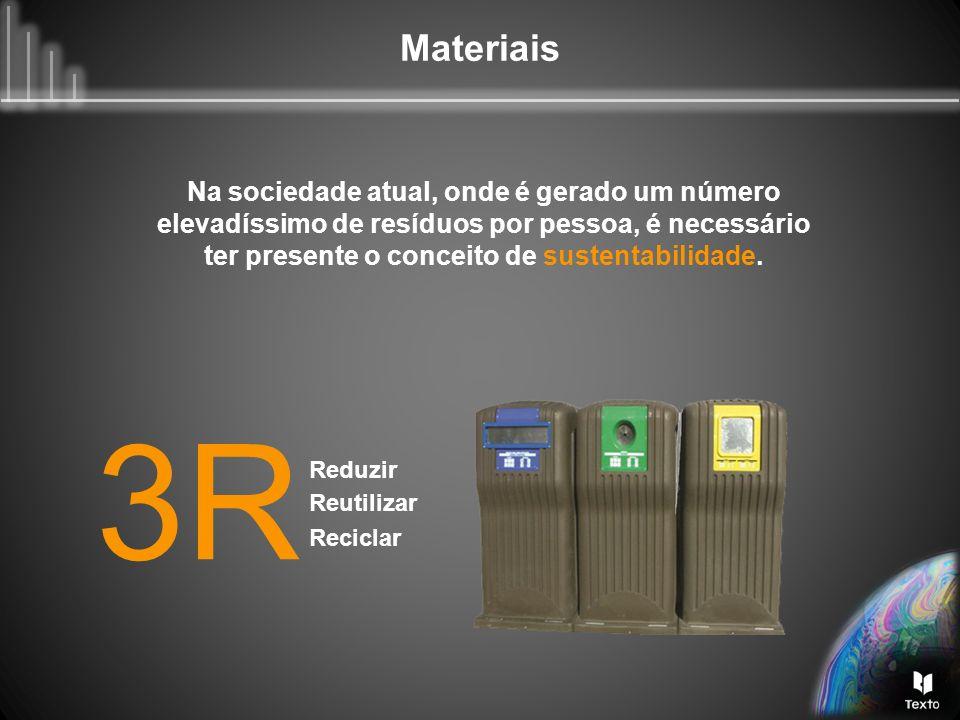 Materiais Na sociedade atual, onde é gerado um número elevadíssimo de resíduos por pessoa, é necessário ter presente o conceito de sustentabilidade. 3