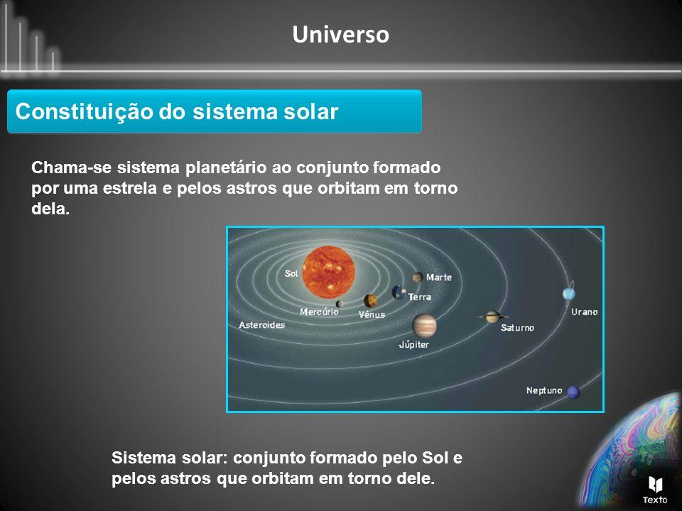 Universo Constituição do sistema solar Chama-se sistema planetário ao conjunto formado por uma estrela e pelos astros que orbitam em torno dela. Siste