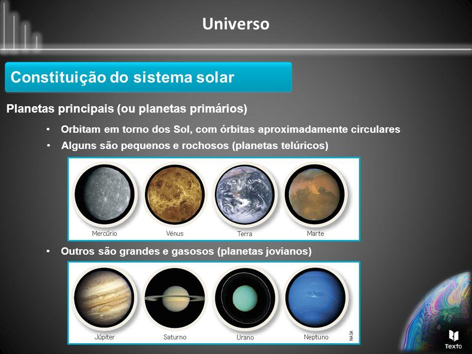 Universo Planetas principais (ou planetas primários) Constituição do sistema solar Alguns são pequenos e rochosos (planetas telúricos) Orbitam em torn