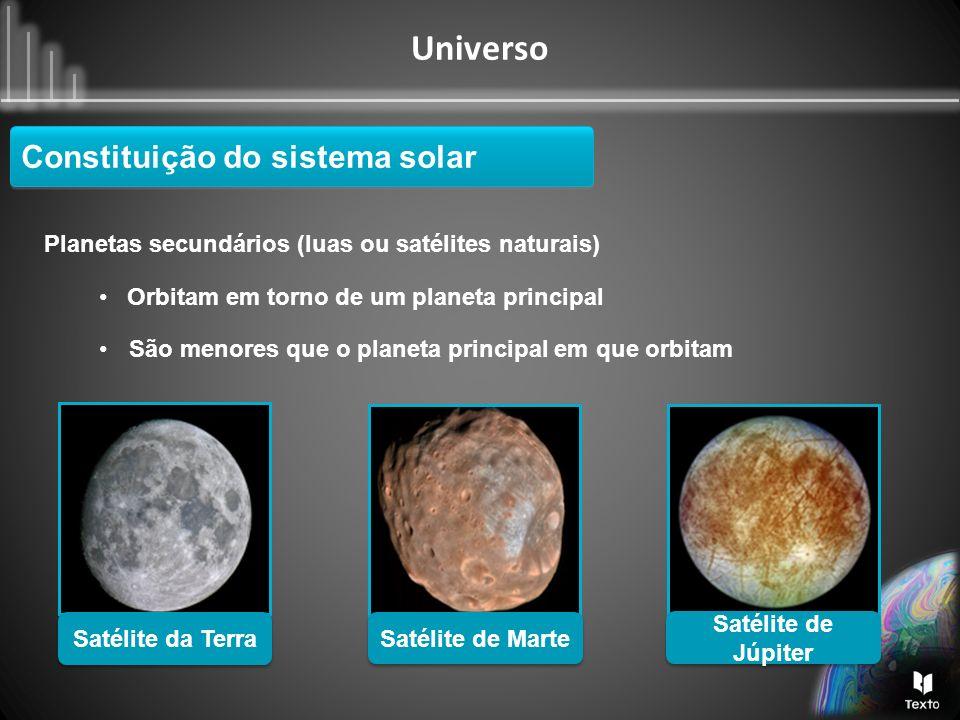 Universo Planetas secundários (luas ou satélites naturais) Orbitam em torno de um planeta principal Constituição do sistema solar Satélite de Júpiter