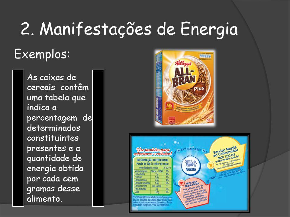 Exemplos: As caixas de cereais contêm uma tabela que indica a percentagem de determinados constituintes presentes e a quantidade de energia obtida por