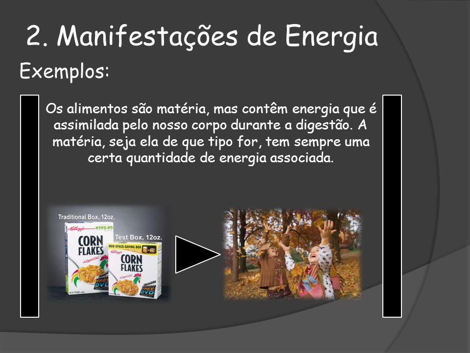 Exemplos: Os alimentos são matéria, mas contêm energia que é assimilada pelo nosso corpo durante a digestão. A matéria, seja ela de que tipo for, tem